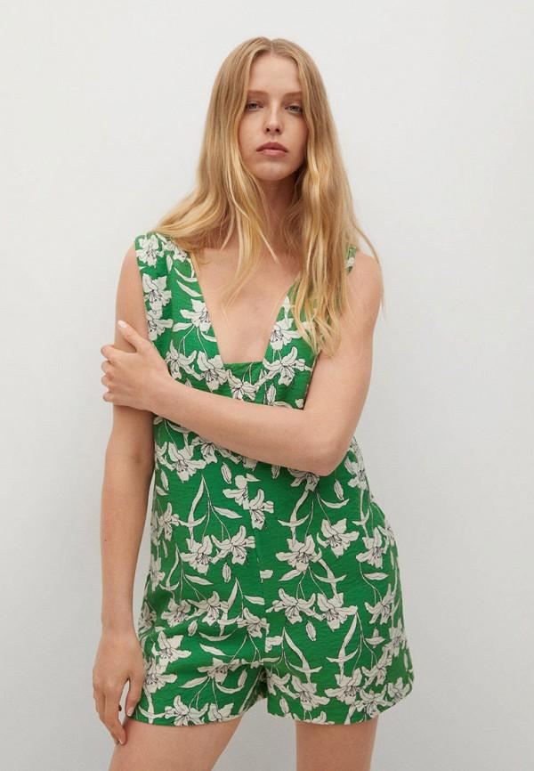 женский комбинезон с шортами mango, зеленый