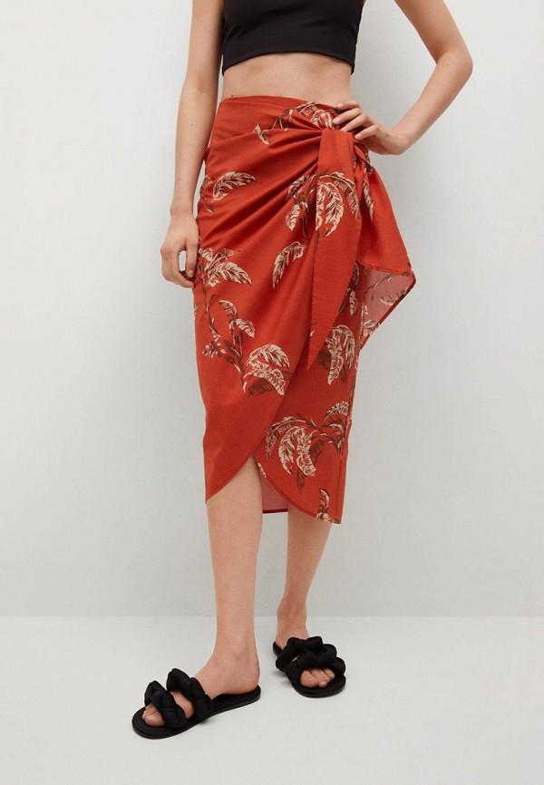 женская прямые юбка mango, красная