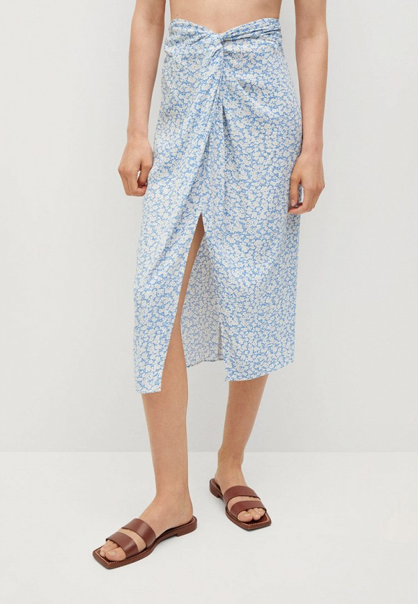 женская прямые юбка mango, голубая