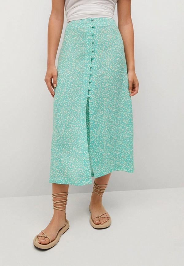 женская прямые юбка mango, бирюзовая