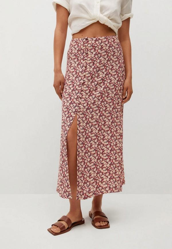 женская прямые юбка mango, розовая