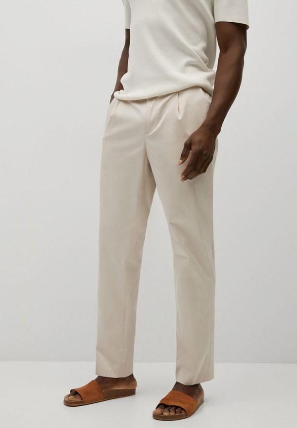 мужские зауженные брюки mango man, белые