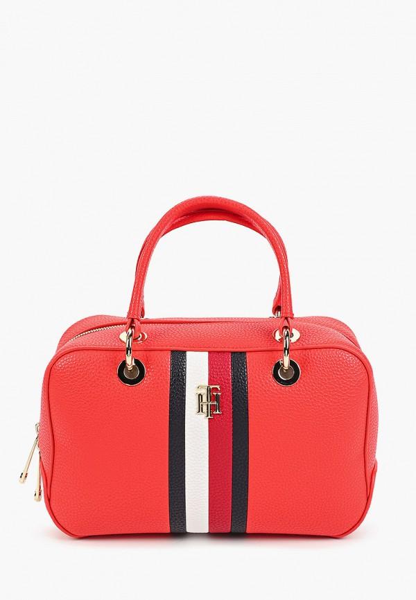 женская сумка с ручками tommy hilfiger, красная