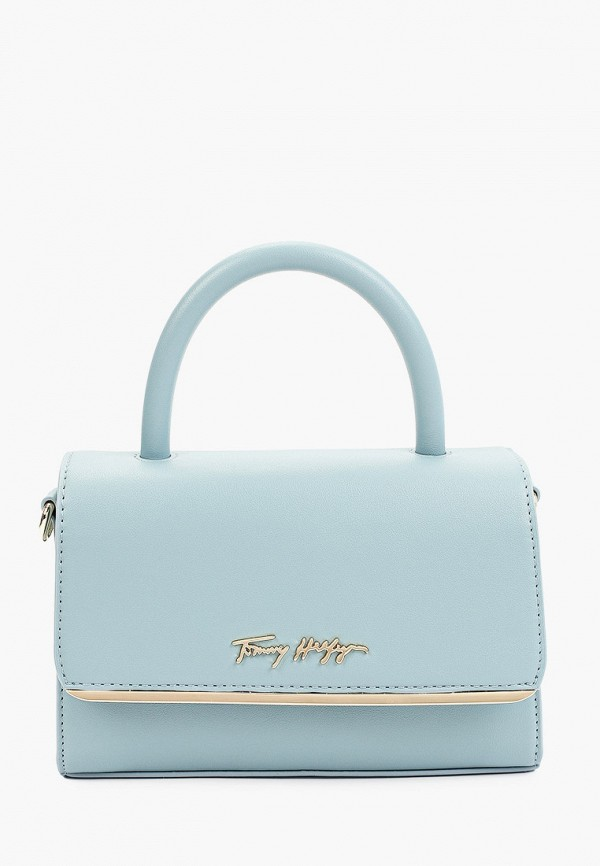 женская сумка с ручками tommy hilfiger, голубая