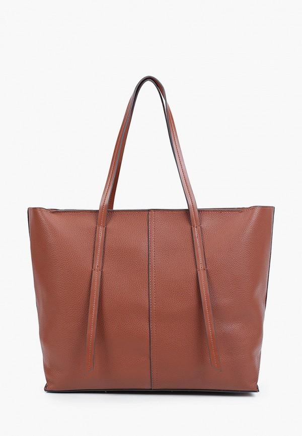 женская сумка-шоперы mango, коричневая