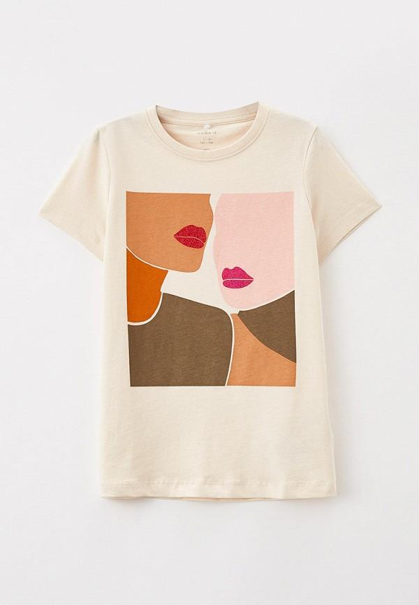 футболка с коротким рукавом name it для девочки, бежевая