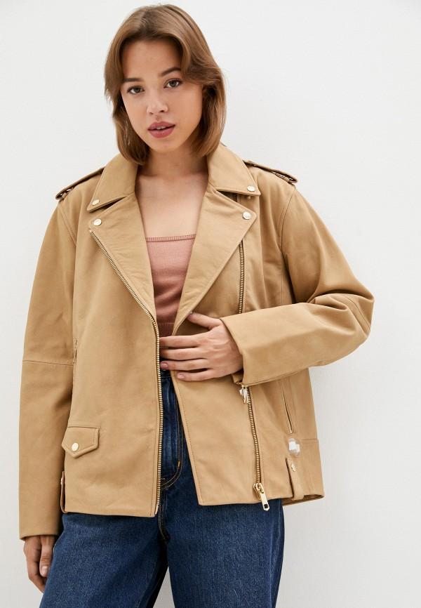 Куртка кожаная Tommy Hilfiger бежевого цвета