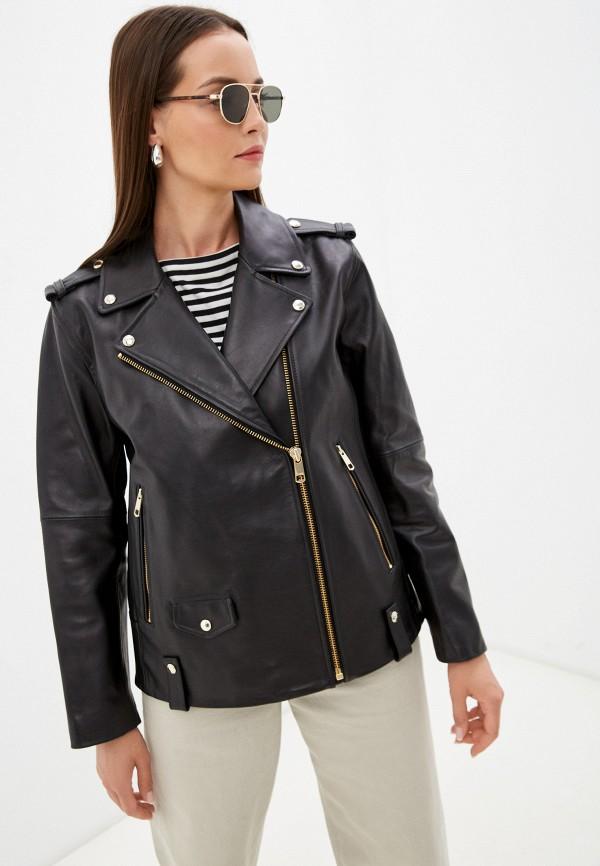 Куртка кожаная Tommy Hilfiger черного цвета