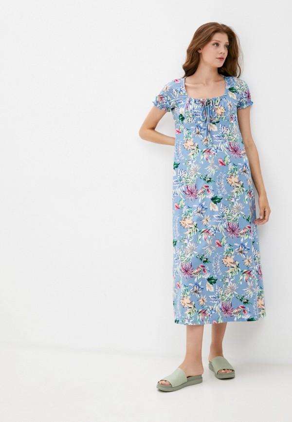 женское повседневные платье rene santi, голубое