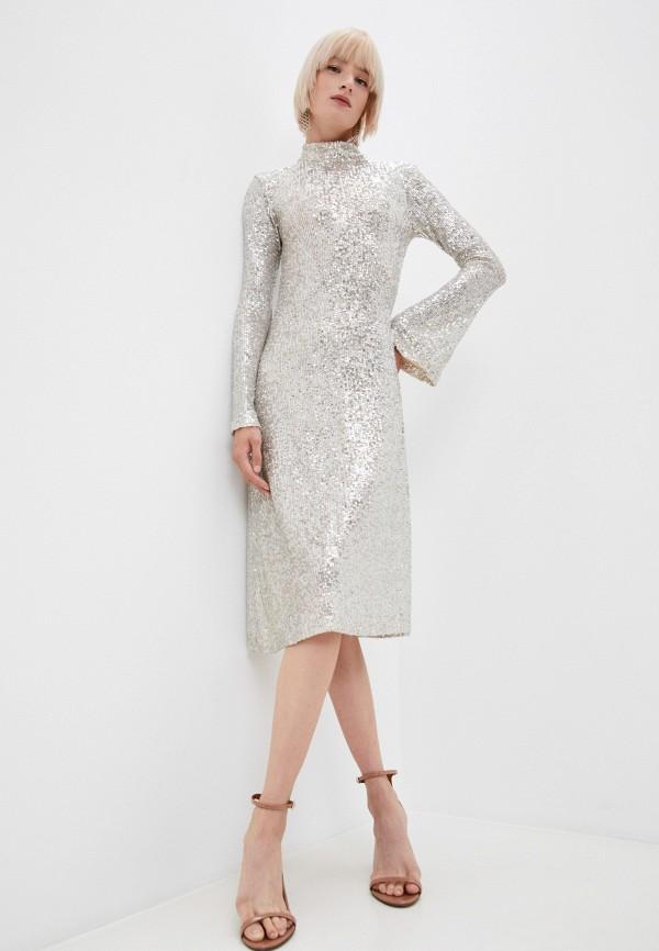 женское вечерние платье l'autre chose, серебряное