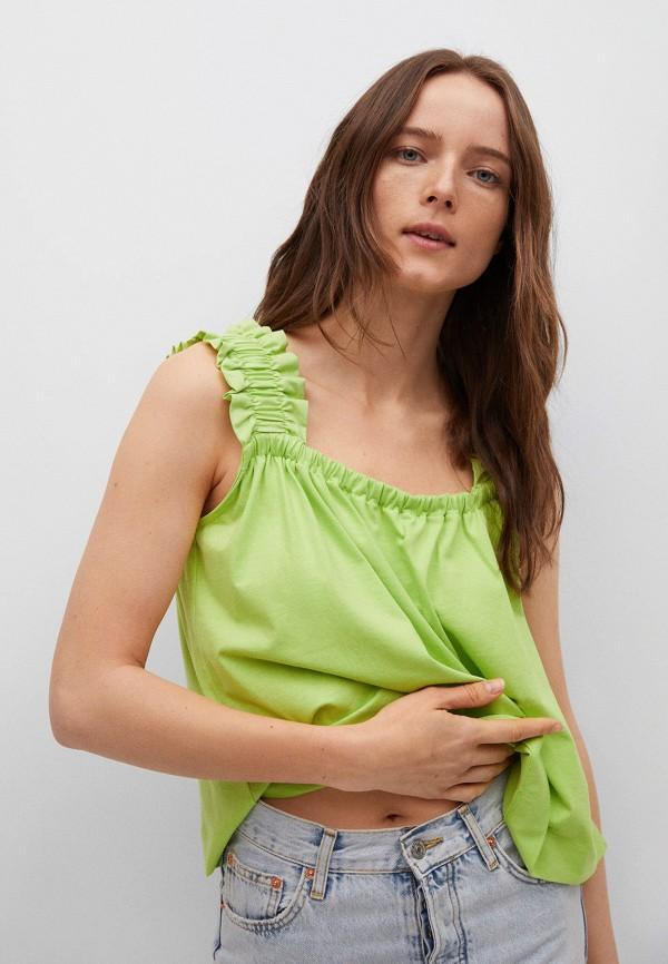 женский топ mango, зеленый