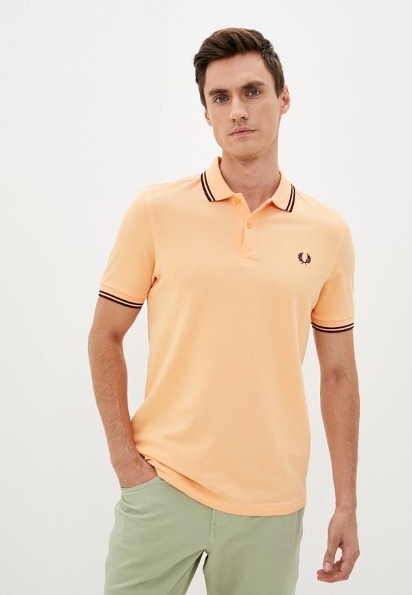мужское поло с коротким рукавом fred perry, оранжевое