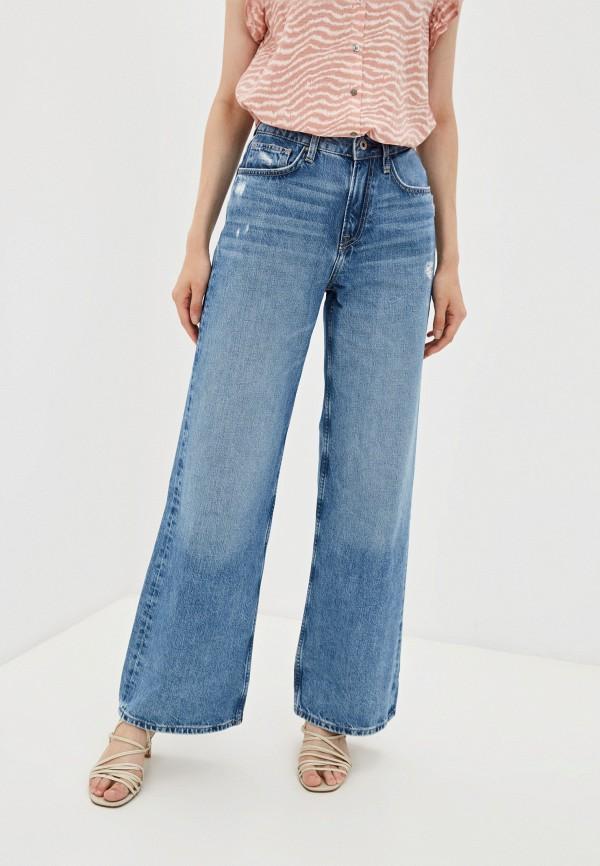 женские джинсы клеш pepe jeans london, голубые