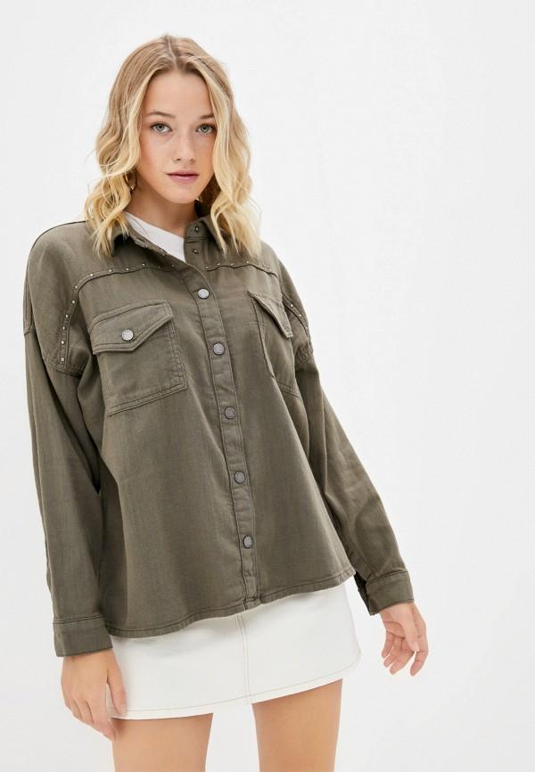 женская рубашка с длинным рукавом pepe jeans london, хаки