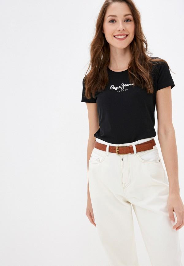 женская футболка pepe jeans london, черная