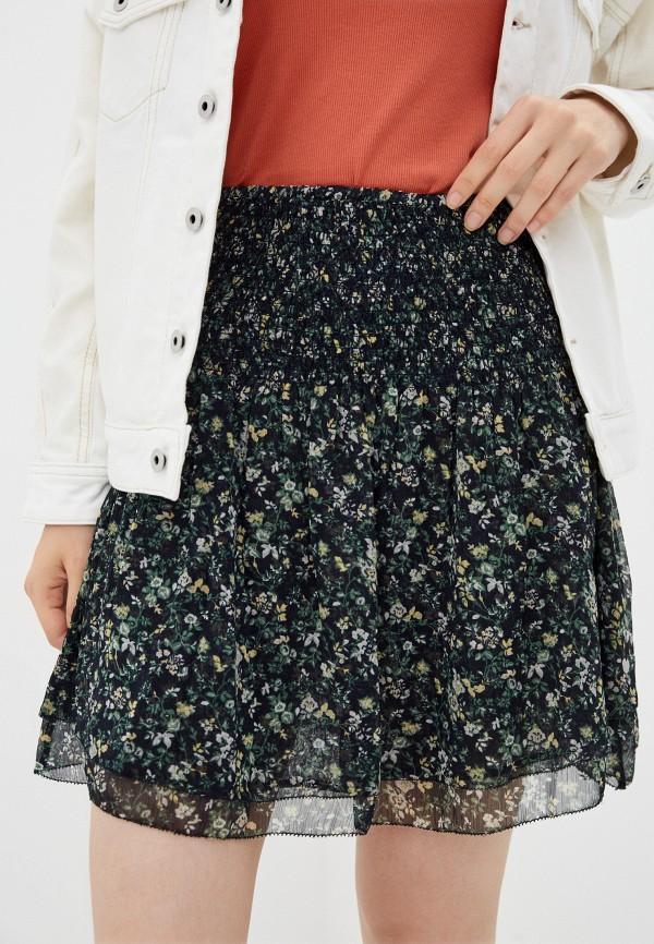 женская юбка-трапеции pepe jeans london, синяя