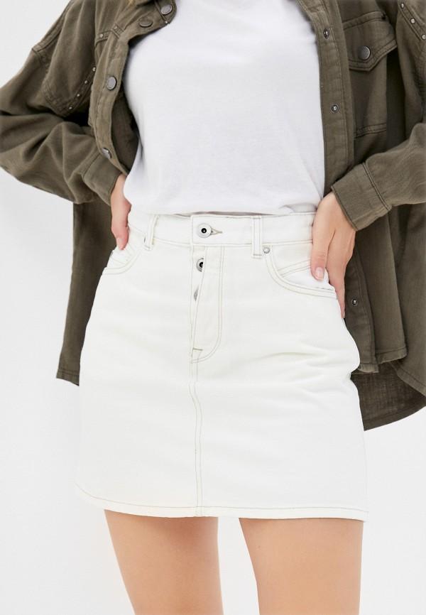 женская джинсовые юбка pepe jeans london, белая