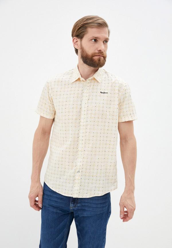 мужская рубашка с коротким рукавом pepe jeans london, желтая