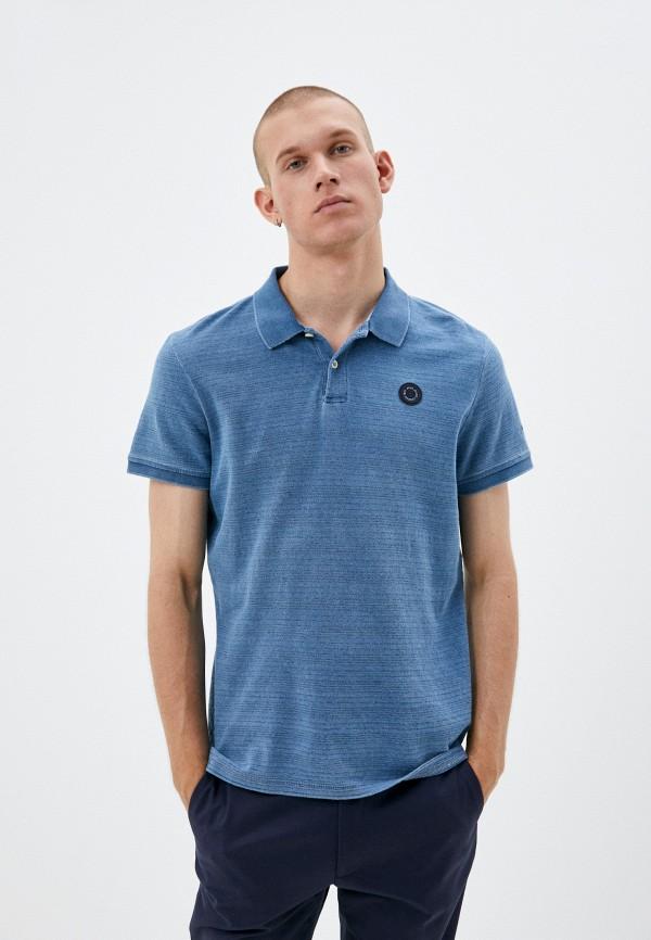 мужское поло с коротким рукавом pepe jeans london, голубое