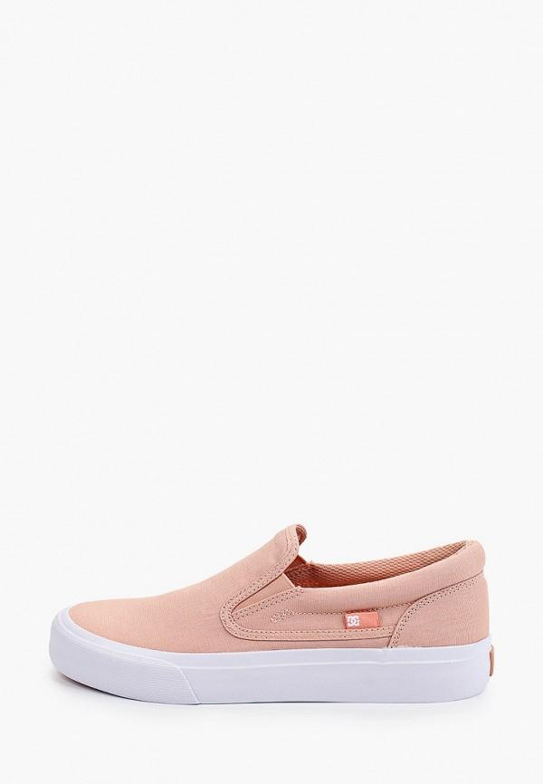 женские низкие слипоны dc shoes, розовые