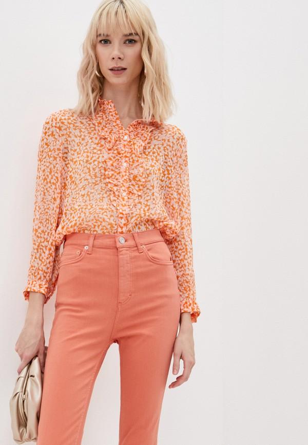 женская блузка french connection, оранжевая