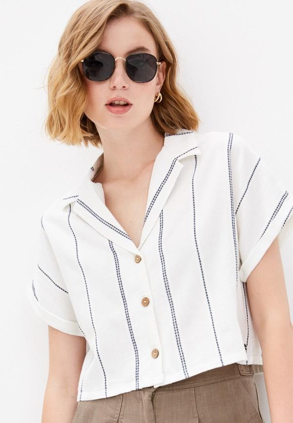 женская рубашка с коротким рукавом roxy, белая
