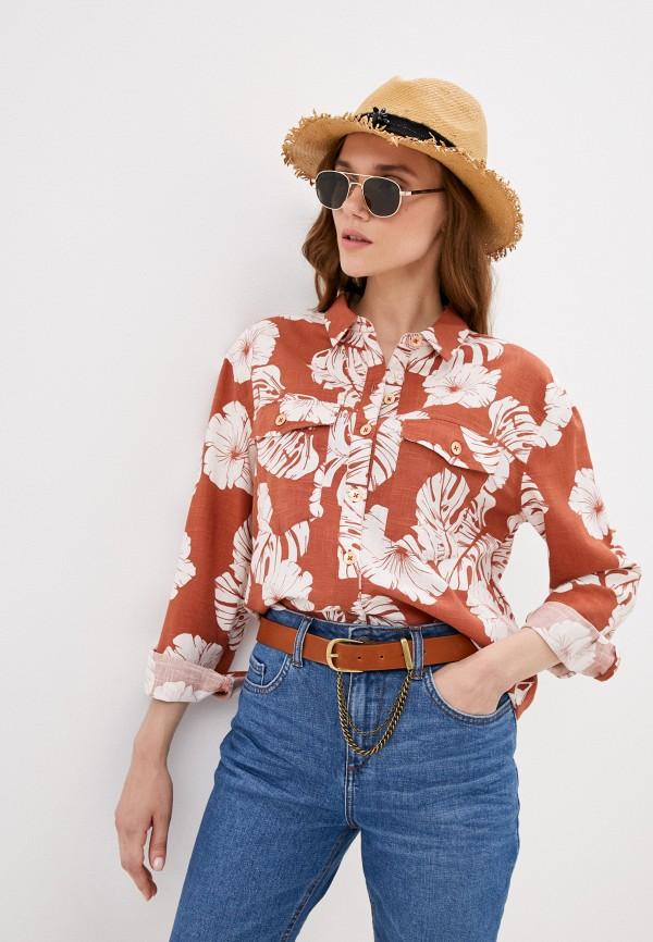 женская рубашка с длинным рукавом roxy, коричневая
