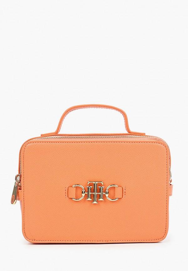 женская сумка с ручками tommy hilfiger, оранжевая