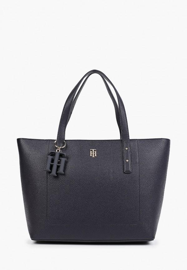 женская сумка-шоперы tommy hilfiger, синяя