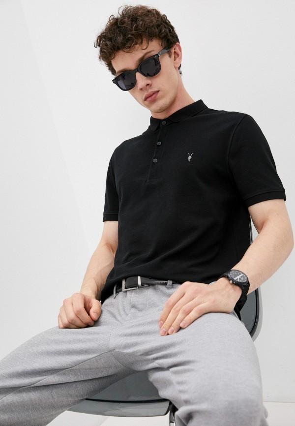 мужское поло с коротким рукавом allsaints, черное