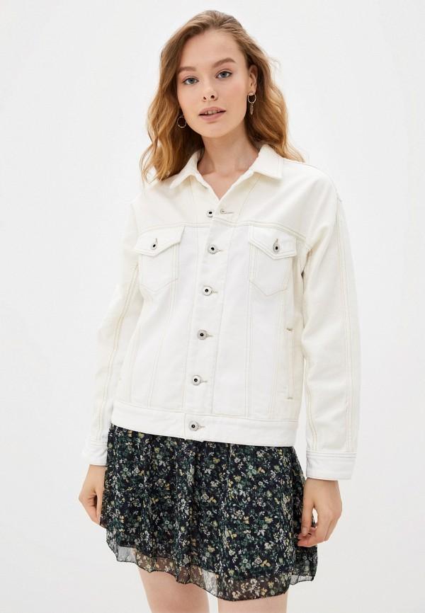 женская джинсовые куртка pepe jeans london, белая