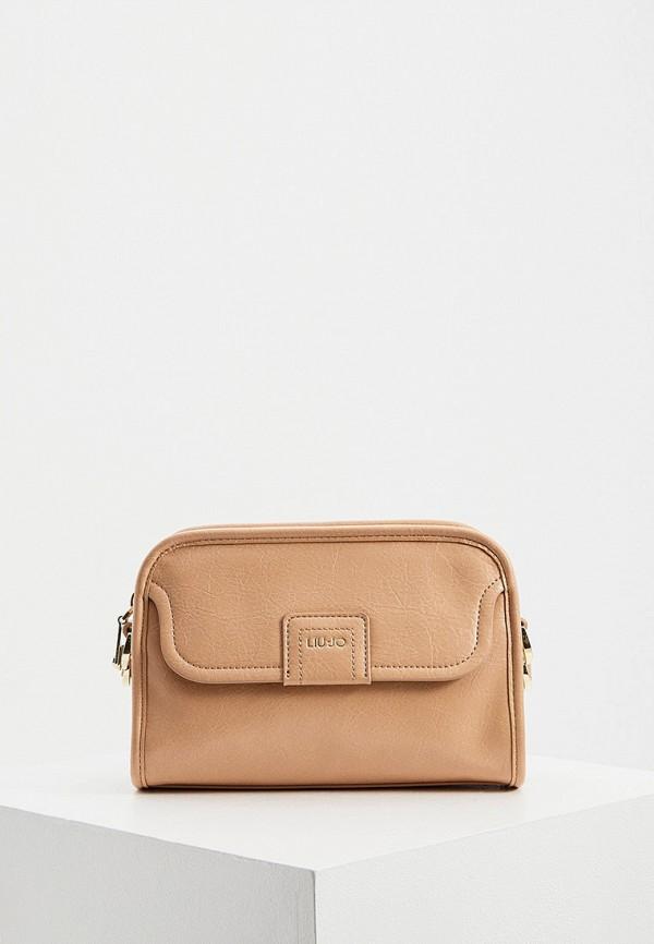 женская сумка через плечо liu jo, бежевая