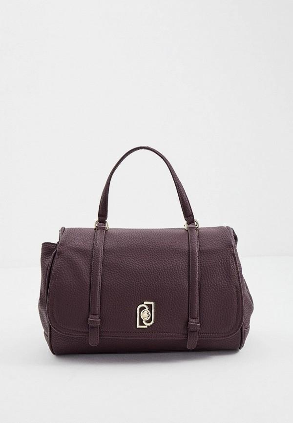 женская сумка с ручками liu jo, бордовая