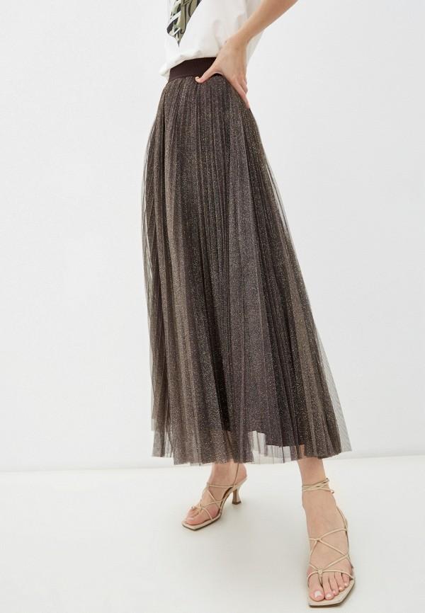 женская плиссированные юбка liu jo, коричневая