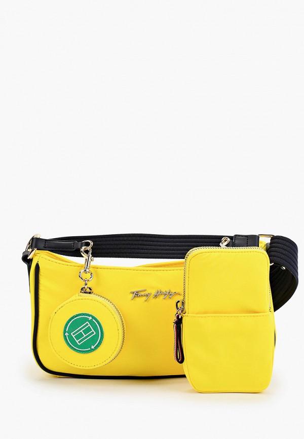женский кошелёк через плечо tommy hilfiger, желтый