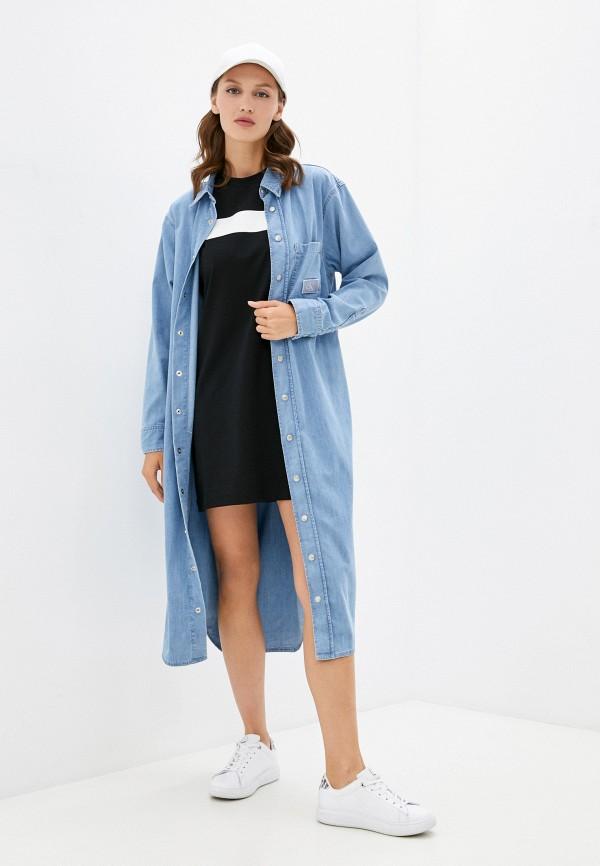женская джинсовые рубашка calvin klein, голубая