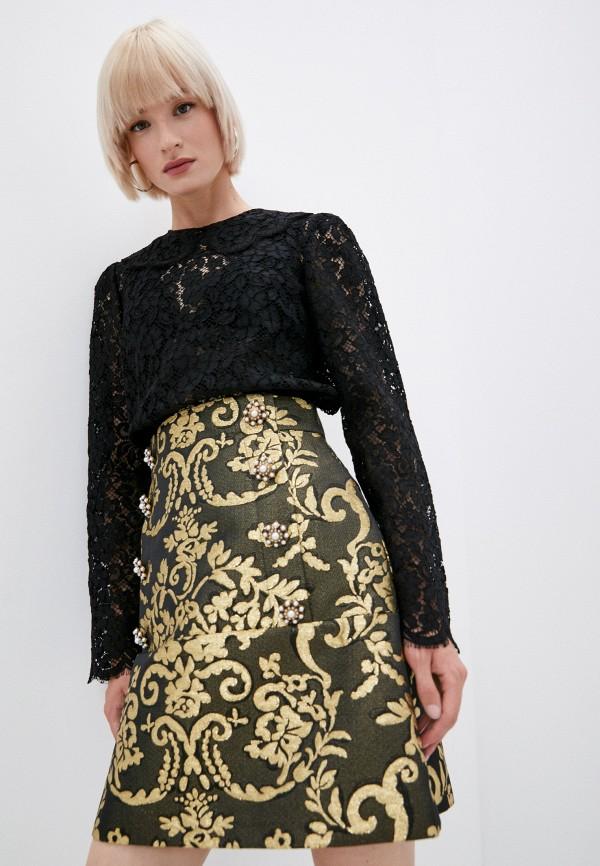 женская кружевные блузка dolce & gabbana, черная