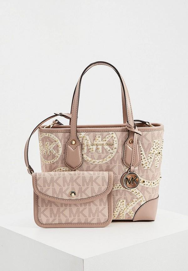 женский кошелёк с ручками michael kors, розовый