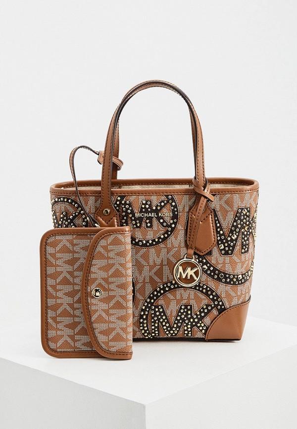 женский кошелёк с ручками michael kors, коричневый