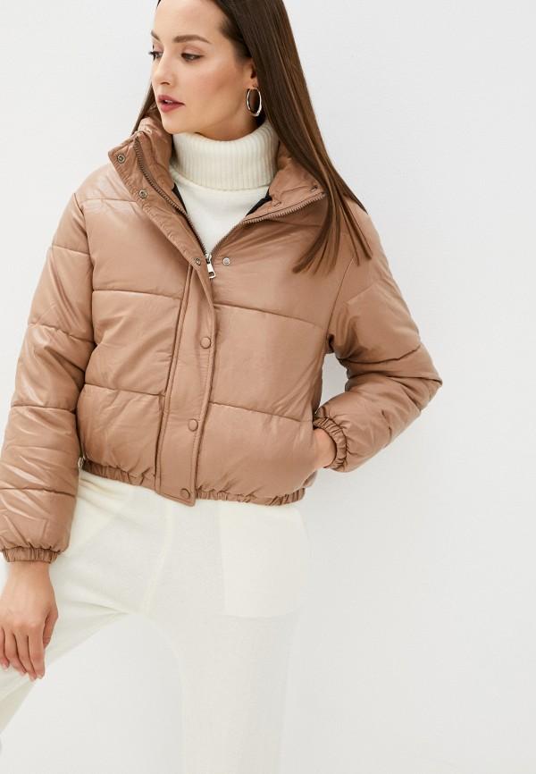 женская кожаные куртка aaquamarina, коричневая