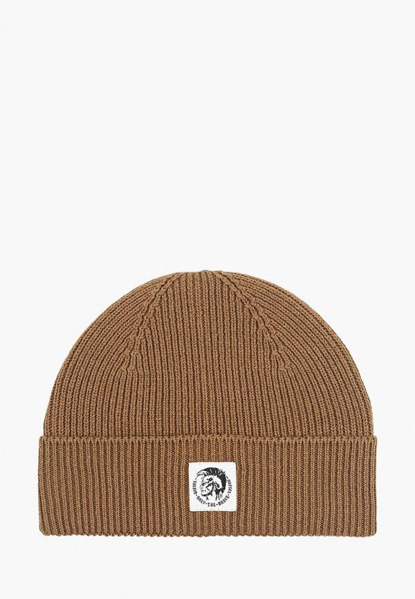 женская шапка diesel, коричневая