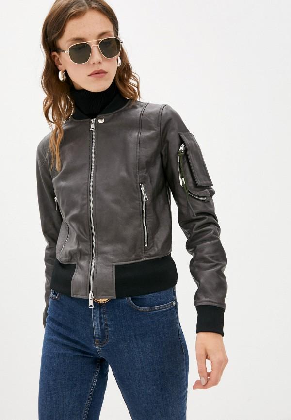 женская кожаные куртка diesel, серая