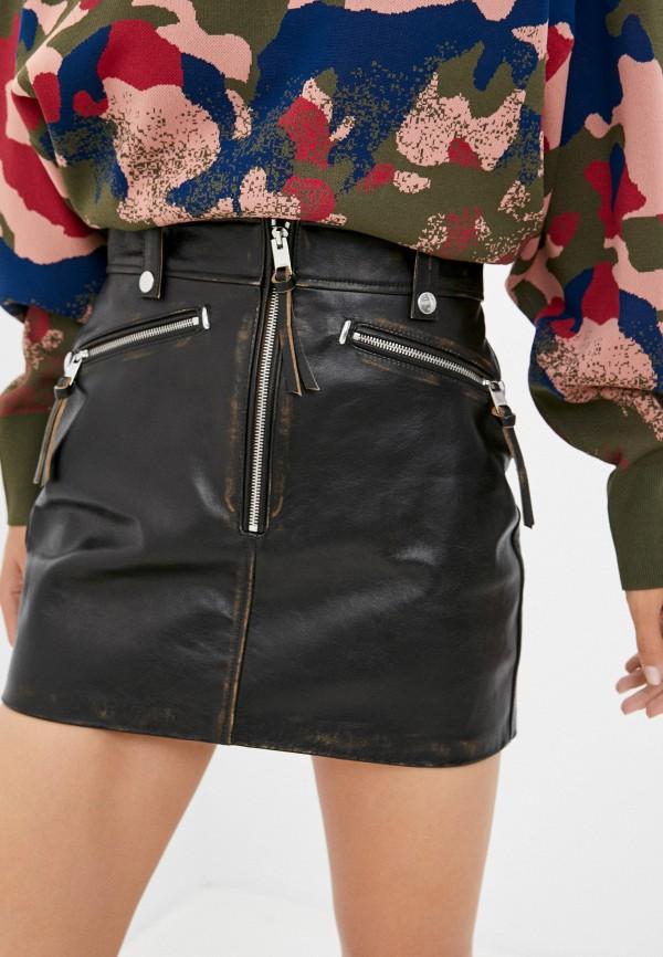 женская кожаные юбка diesel, черная
