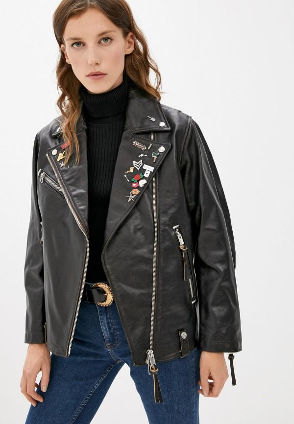 женская куртка косухи diesel, черная