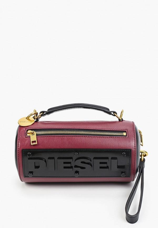 женская сумка с ручками diesel, бордовая