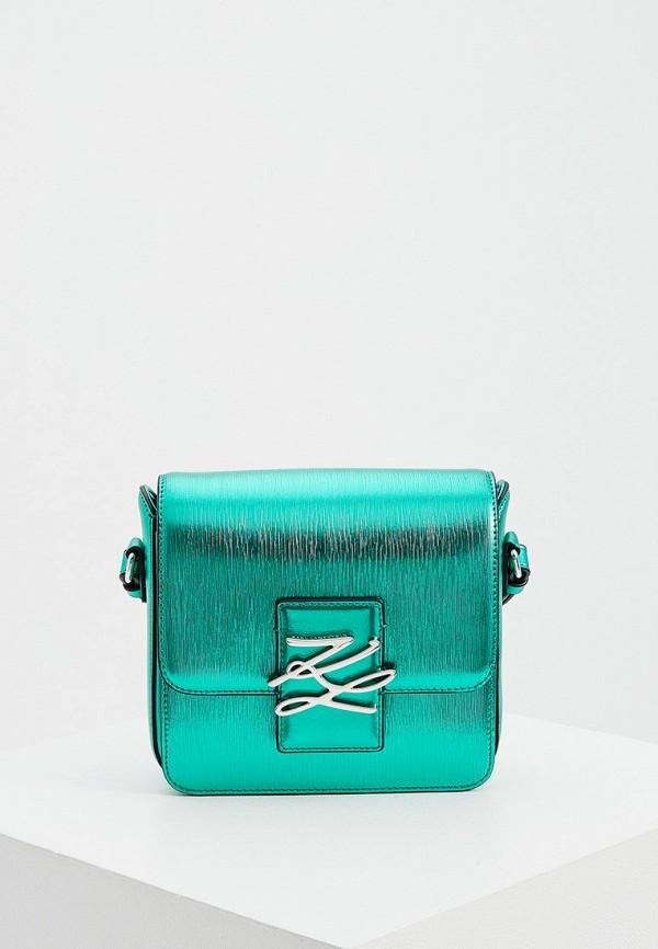 женская сумка через плечо karl lagerfeld, зеленая