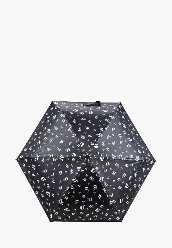 женский складные зонт karl lagerfeld, черный