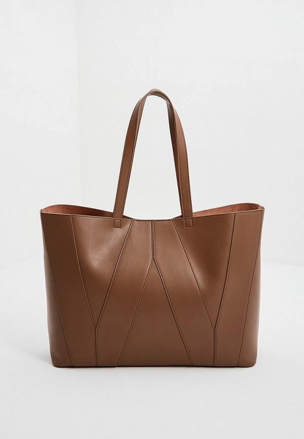 женская сумка-шоперы weekend by max mara, коричневая