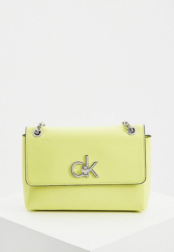 женская сумка через плечо calvin klein, зеленая