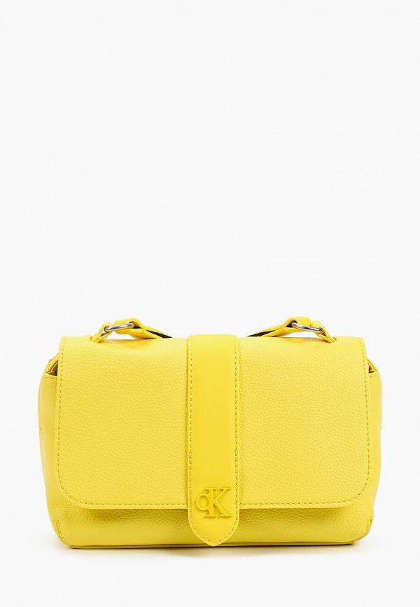 женская сумка через плечо calvin klein, желтая